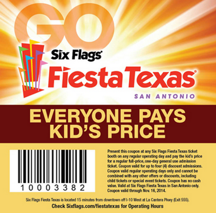 Six Flags Fiesta Texas Promo Codes Six Flags Fiesta Texas is San Antonio's biggest, most popular themed attraction featuring dozens of thrill rides, shows, and activities (San Antonio, TX). Six Flags Fiesta Texas is a theme park located on approximately acres ( km2) of land in San Antonio, Texas.