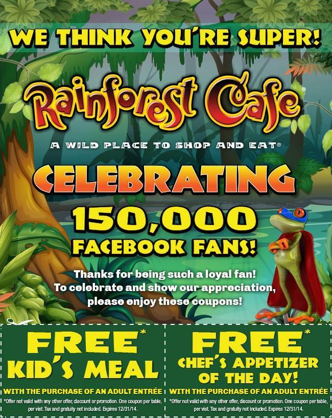photograph regarding Rainforest Cafe Printable Coupon identify Rainforest restaurant coupon codes / Rabatt discount codes zum ausdrucken