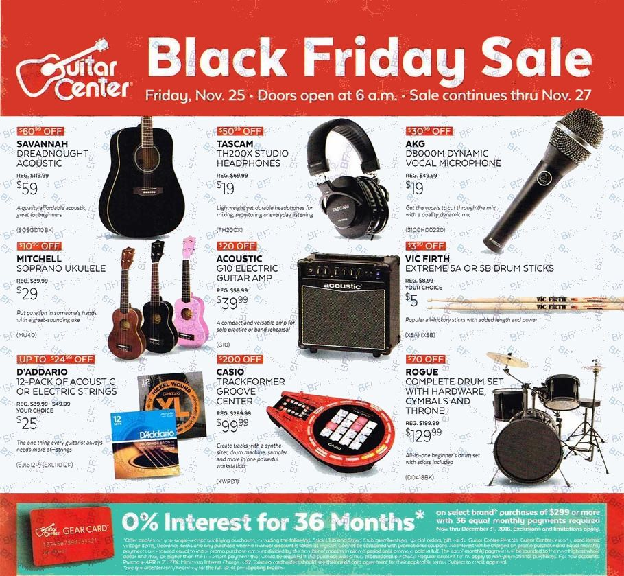 guitar center black friday ads sales and deals 2016 2017. Black Bedroom Furniture Sets. Home Design Ideas