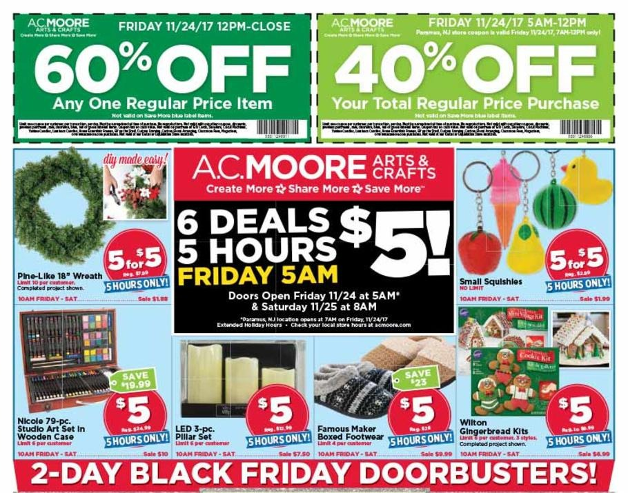 photo relating to Ac Moore Coupon Printable named AC Moore Black Friday Adverts Profits and Promotions 2017 CouponShy