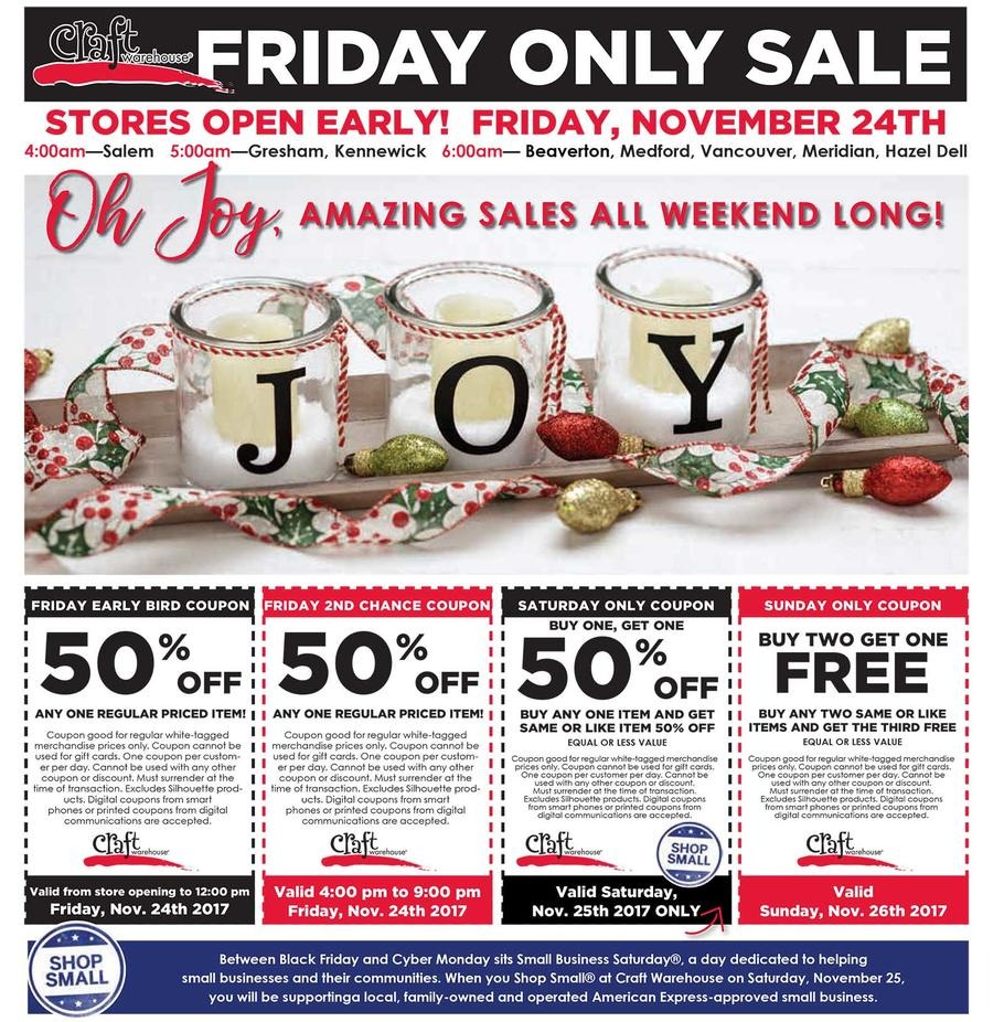 Craft warehouse black friday ads sales and deals 2017 for Clearance craft supplies sale