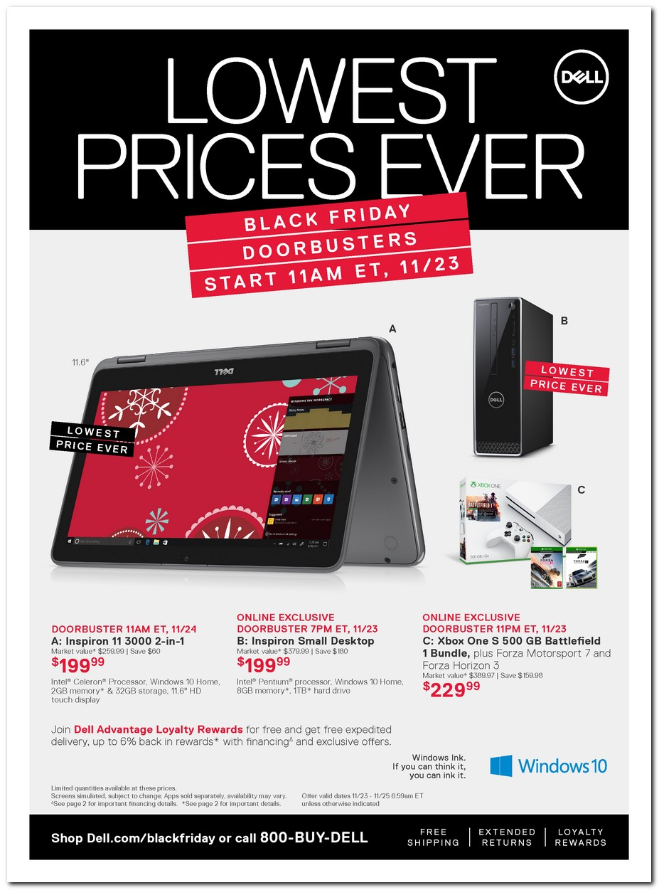 Dell Black Friday ad features $ Inspiron laptop, $ gaming desktop The PC manufacturer offers its usual range of deals on laptops and desktops, though many are of the limited-time