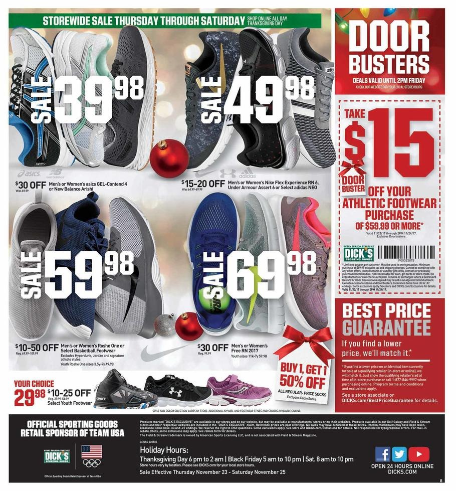 Dick's Sporting Goods is a full-line sporting goods retailer that offers equipment, apparel, footwear and accessories in a specialty store environment. Dick's frequently offers free shipping on orders over certain amounts (and all orders on the week of Black Friday).