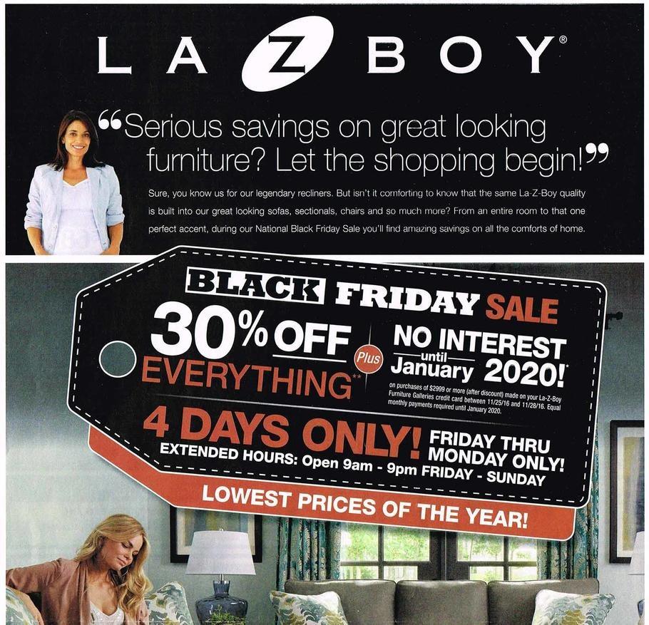 Furniture Sales Black Friday: La-Z-Boy Black Friday Ads 2016, Promo Codes, Deals 2018