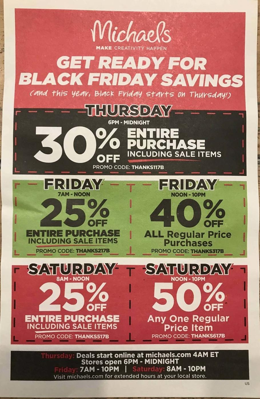 Michael 39 s black friday ads sales doorbusters and deals for Michaels crafts hours today