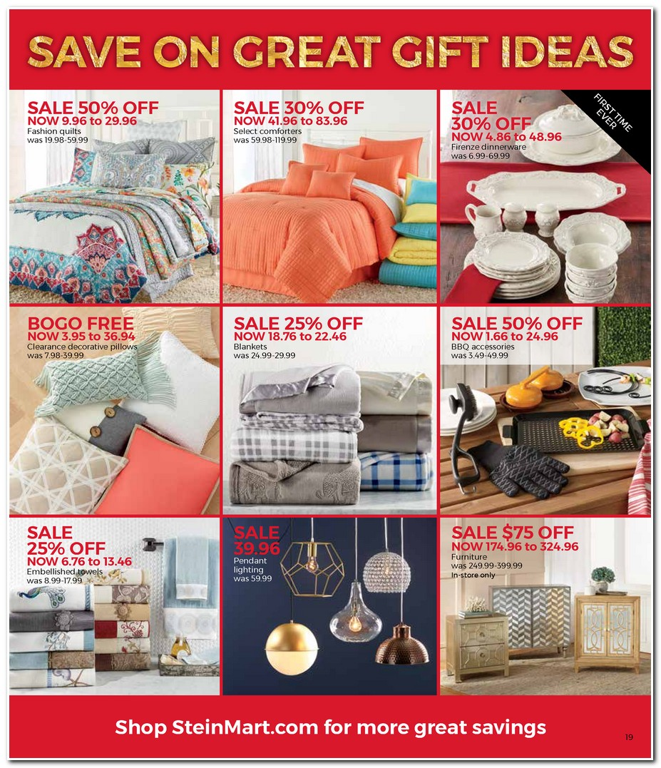 Stein Mart's Black Friday ad is released! Here are all of the Stein Mart Black Friday deals, sales and doorbuster specials to help you save with the lowest prices of the season on shoes for family, home and bedding, dresses, suits, and kitchen appliances/5(4).