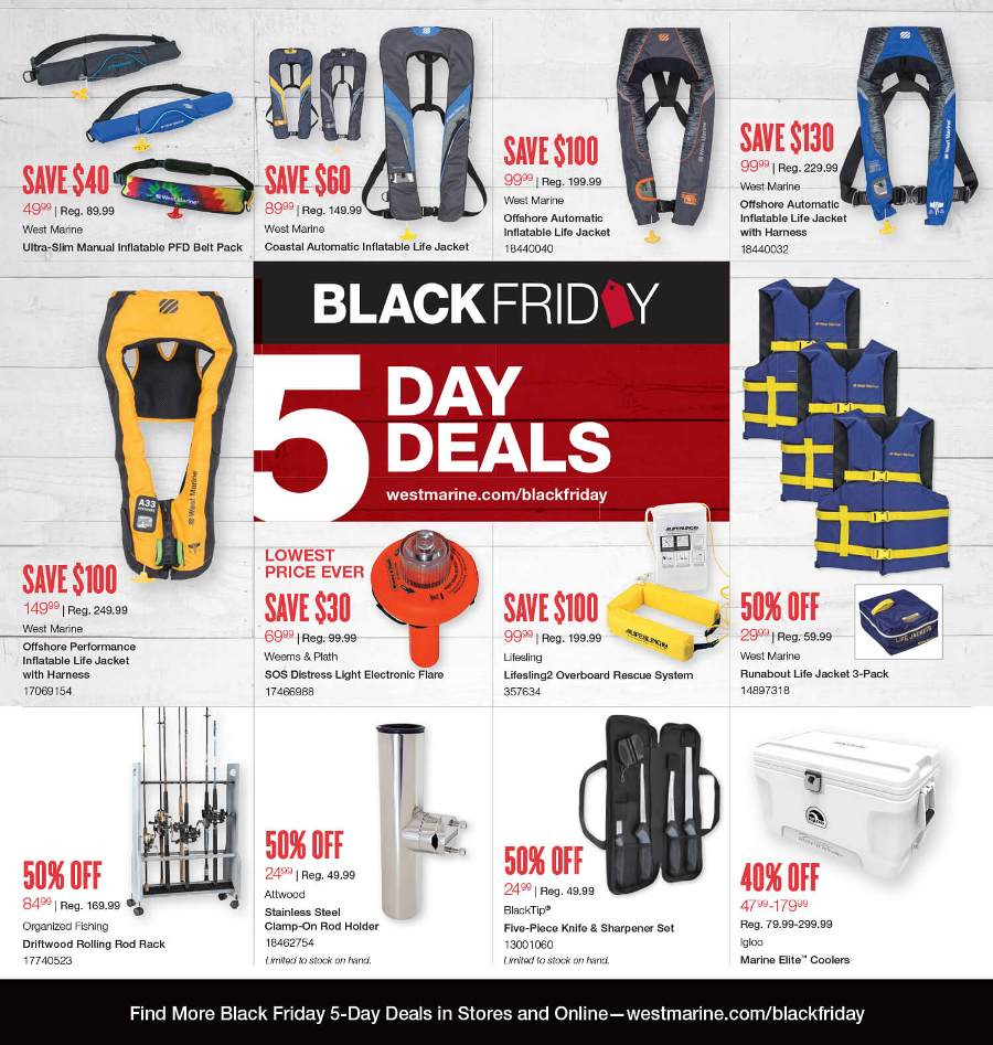 Complete coverage of West Marine Black Friday Ads & West Marine Black Friday deals info.