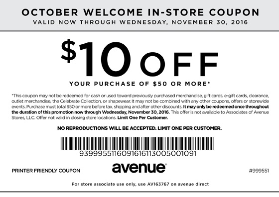 Avenue free shipping coupon code