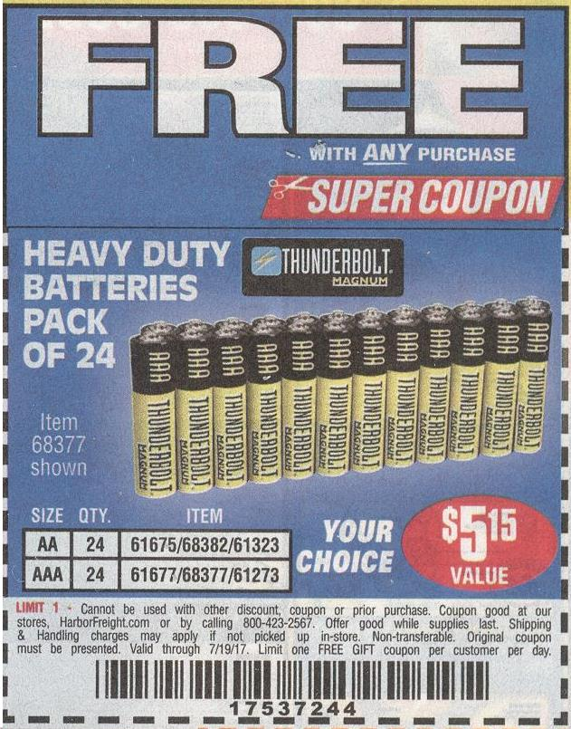 Harbor freight free with purchase coupons