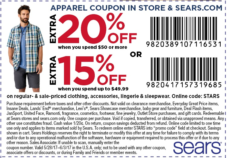 Sears often has coupon codes that can save you up to 20 percent off, or dollar amounts off specific items or brands. Additionally they offer rebates worth up to $ back! Be sure to look for free shipping and service discounts to save even more. Join Sears' rewards program to earn points on everyday purchases and receive special coupons and.