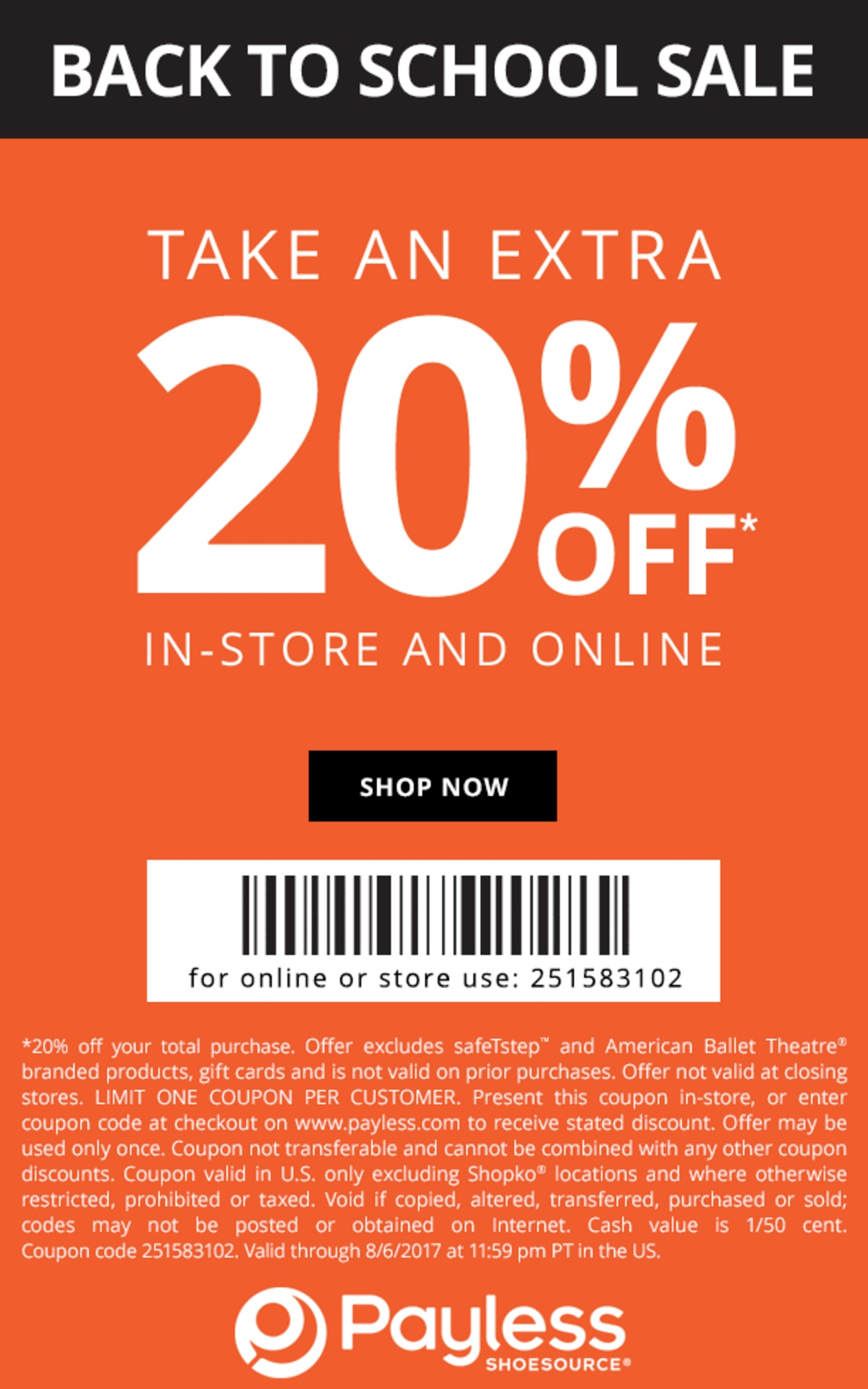 Alamo coupons online - Payless Coupon For 20 Off Your Purchase Of One Single Item At Payless