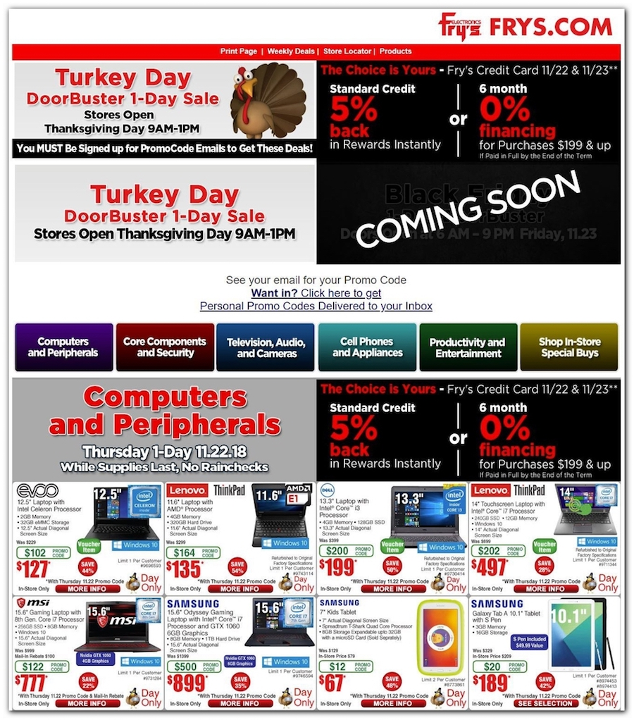 photograph regarding Frys Printable Coupons named Frys Electronics Black Friday Commercials, Profits, Doorbusters