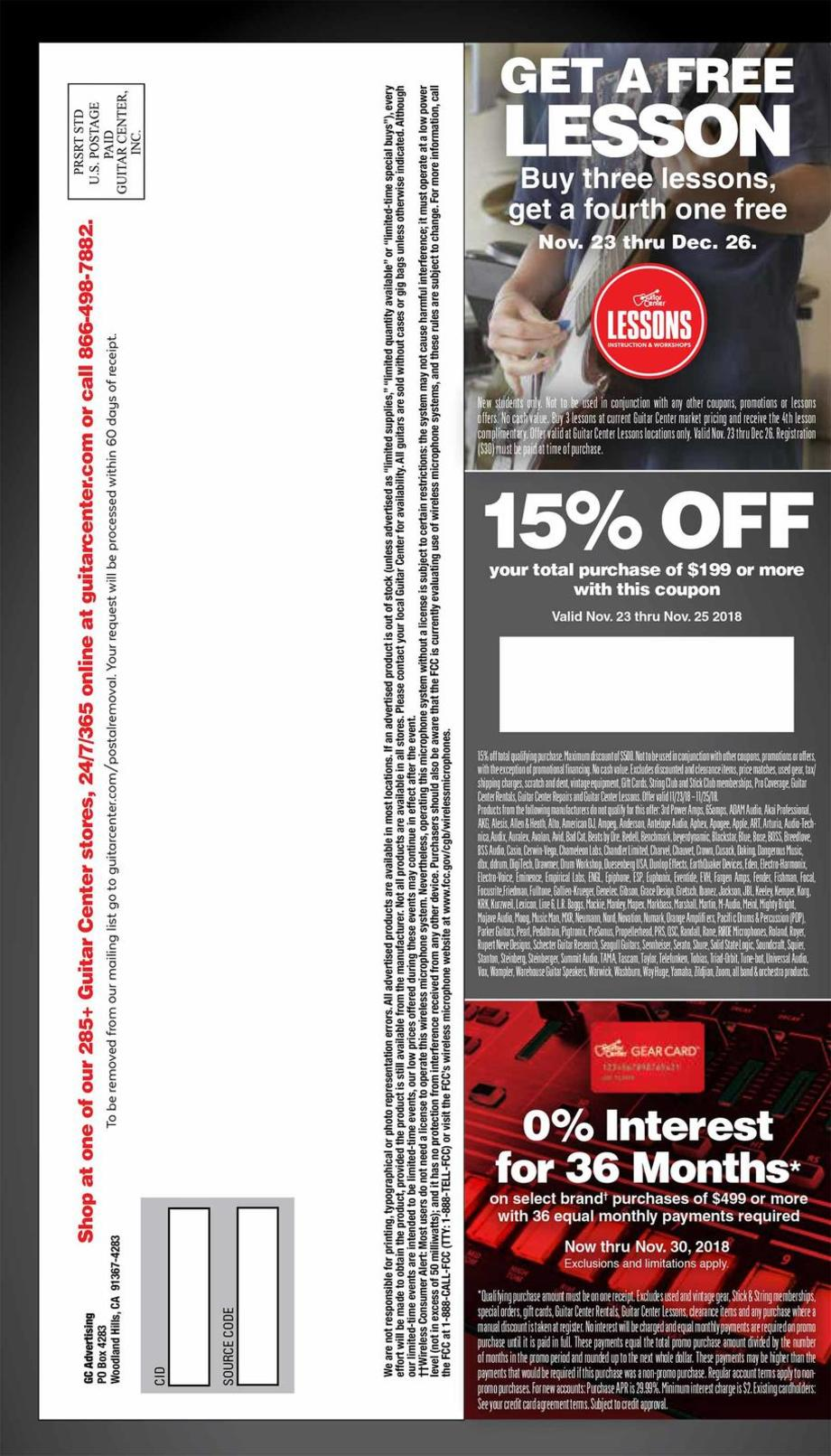 graphic about Guitar Center Printable Coupon called Guitar Middle Black Friday Adverts, Income, and Discounts 2018