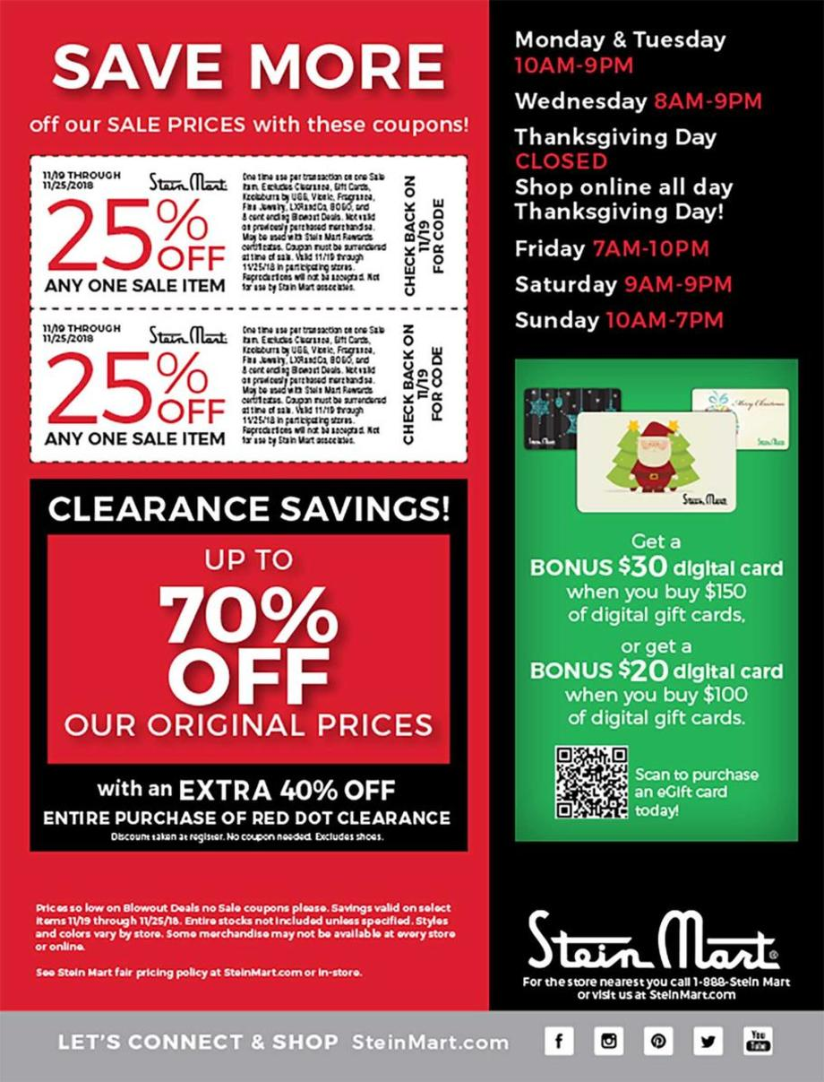 picture about Stein Mart Printable Coupon titled Stein Mart Black Friday Adverts, Revenue, and Discounts 2018 CouponShy