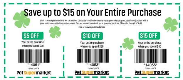Pet supermarket coupons