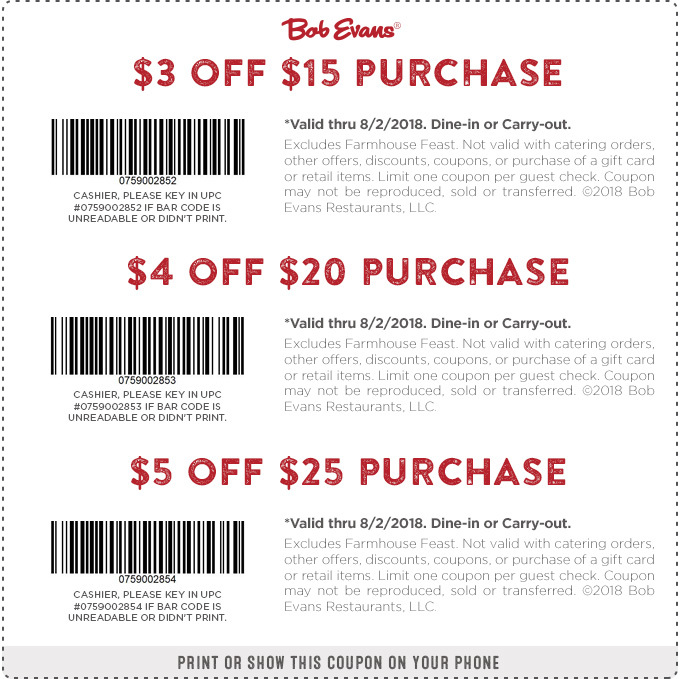 Bob evans coupons august 2019
