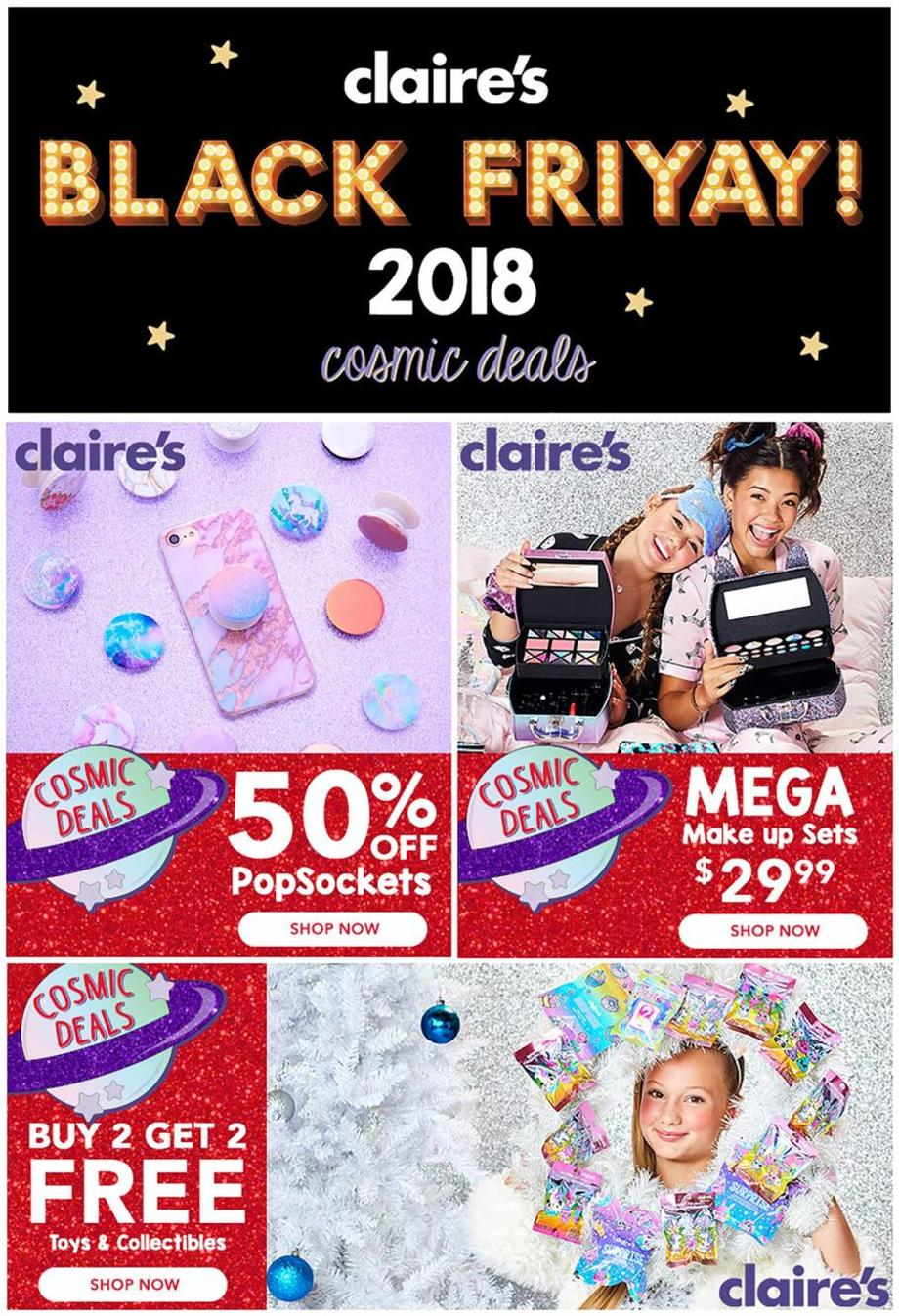 photo relating to Claire's Printable Coupons called Claires Black Friday Commercials Discounts Doorbusters Profits 2018
