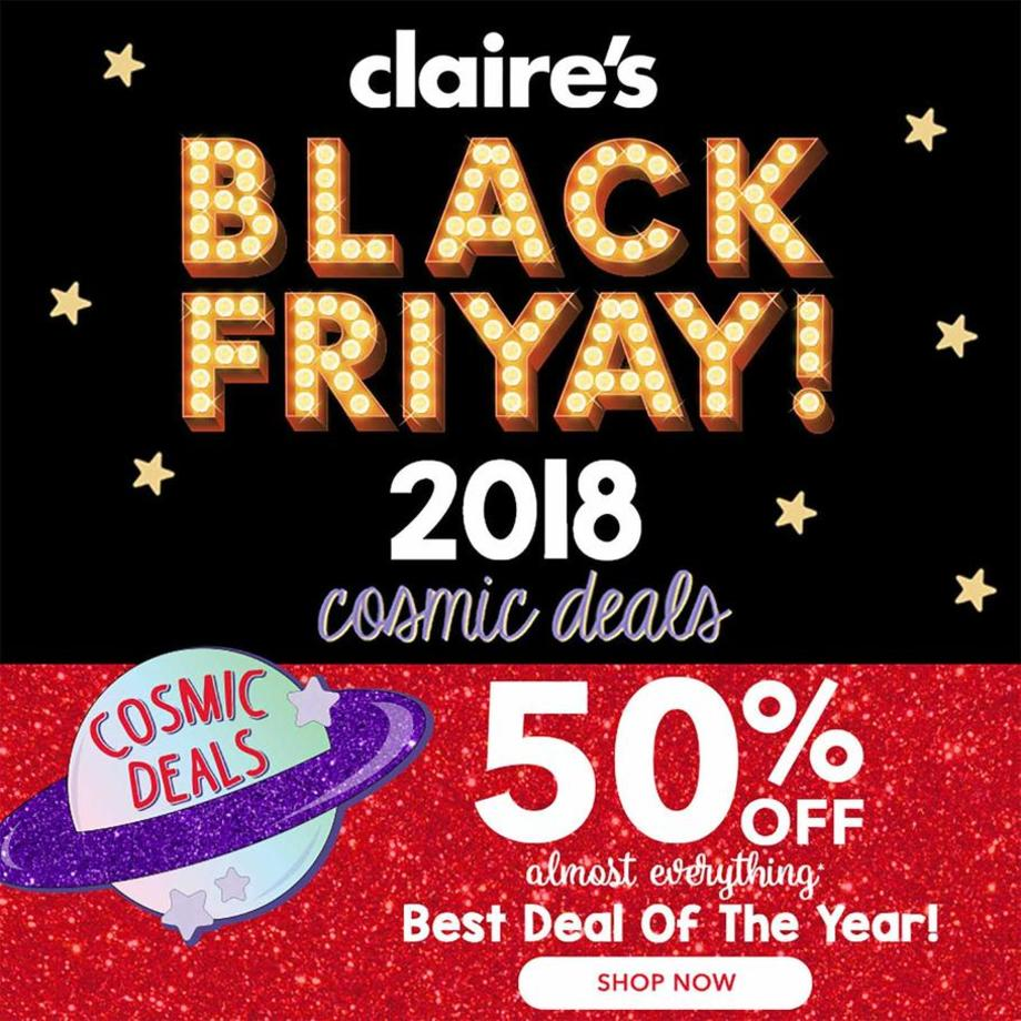 image regarding Claires Printable Coupons identify Claires Black Friday Commercials Discounts Doorbusters Income 2018
